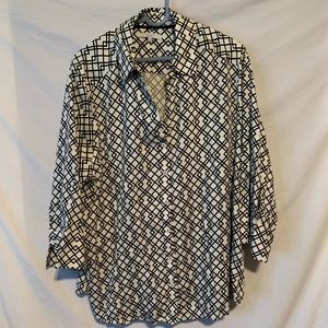 Foxcroft 20W off white black wrinkle free shirt
